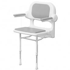 Sedile imbottito con schienale e braccioli grigio